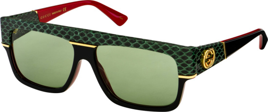Gucci Snakeskin Panel Square Sunglasses