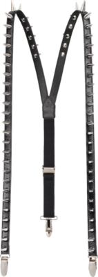 Gucci Spike Black Leather Suspenders