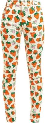 Gucci Strawberry Print White Denim Jeans