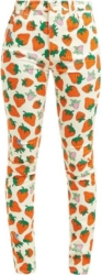Gucci Strawberry Print White Denim Jeans