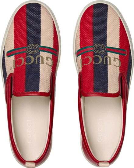 Gucci Striped Canvas And Leather Slip On Sneakers