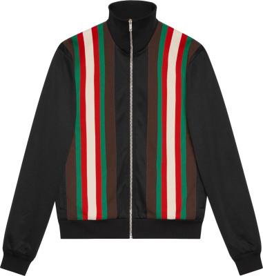 Gucci Striped Panel Black Track Jacket