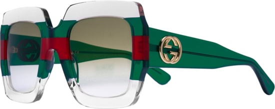 Gucci Striped Transparent Frame Sunglasses