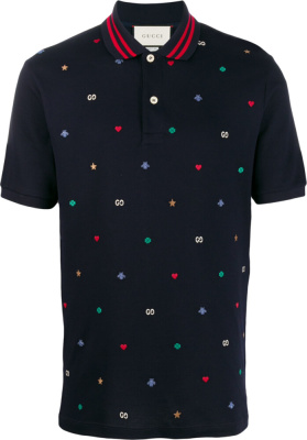 Gucci Symbols Embroidered Navy Polo