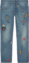 Allover Symbol Patch Jeans