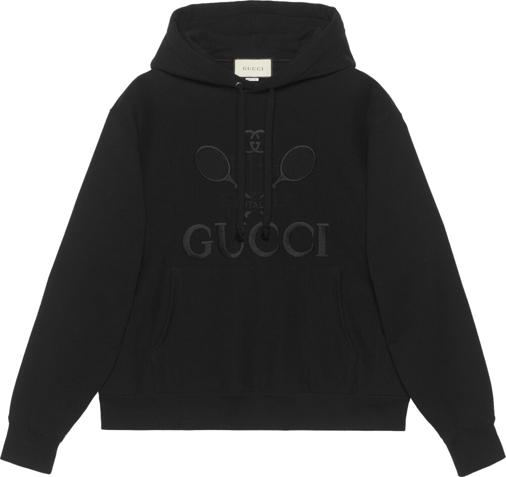 Gucci Tennis Embroidered Black Hoodie
