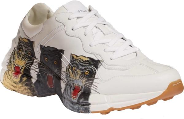 Gucci Three Tiger Print White Sneakers