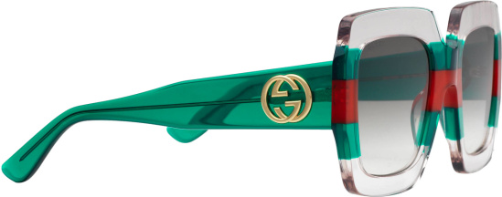 Gucci Transparent Frame And Web Stripe Acetate Oversized Sunglasses