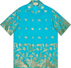 Turquoise & Gold-Leaf Bowling Shirt