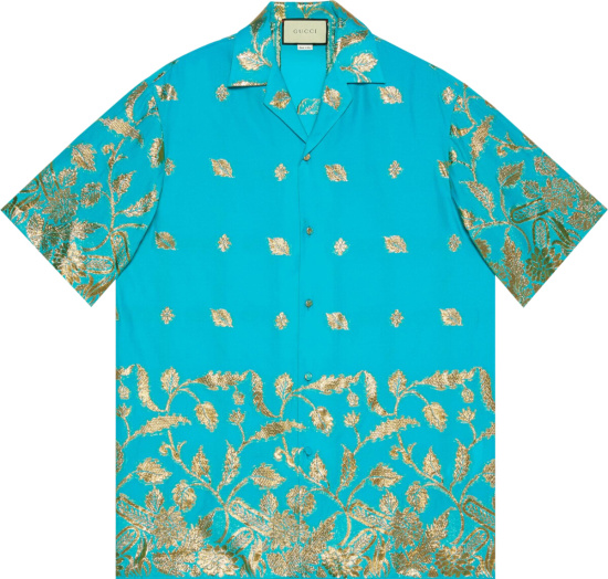 Gucci Turquoise And Gold Leaf Jacquard Shirt