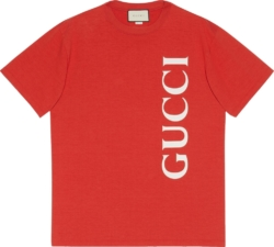 Gucci Vertical Logo Print Red T Shirt