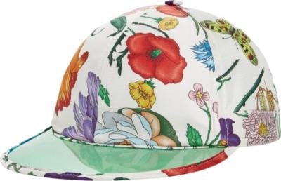 Gucci Vinyl Brim Floral Print Whtie Hat