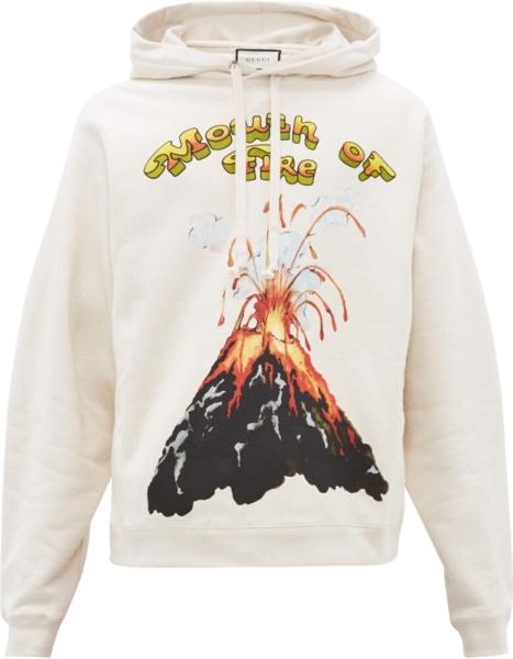 Gucci Volcano Print White Hoodie