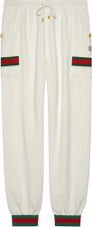 Gucci Web Detail White Cargo Pants