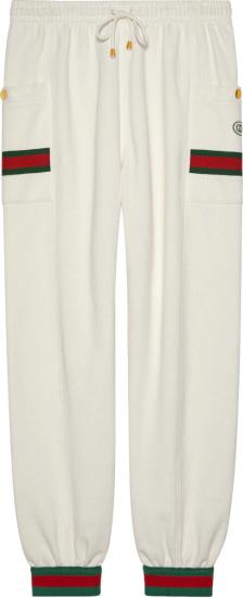 Gucci Web Detail White Cargo Pants