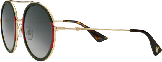 Gucci Web Stripe Metal Round Frame Sunglasses