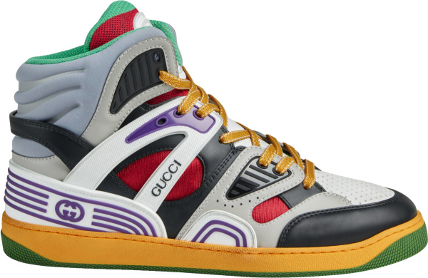 Gucci White And Black High Top Basket Sneakers