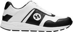 Gucci White And Black Low Top Leather Sneakers