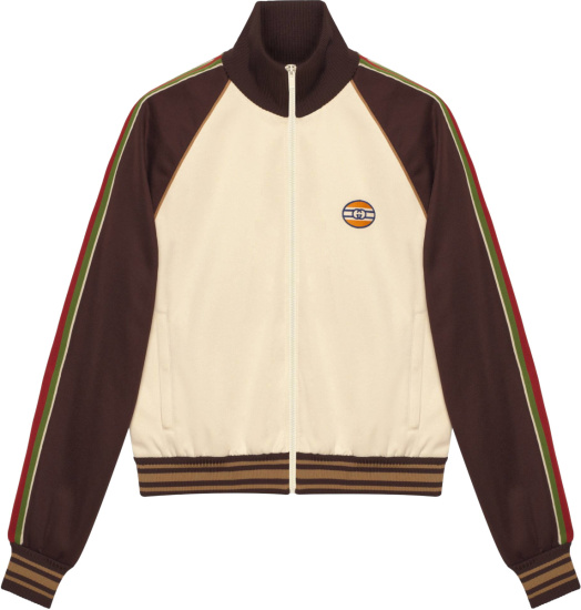Gucci White And Brown Side Stripe Track Jacket