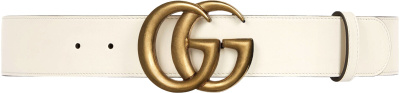 Gucci White And Gold Tone Gg Belt 400593 Ap00t 9022