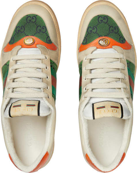 Gucci White And Green Canvas Screener Sneakers