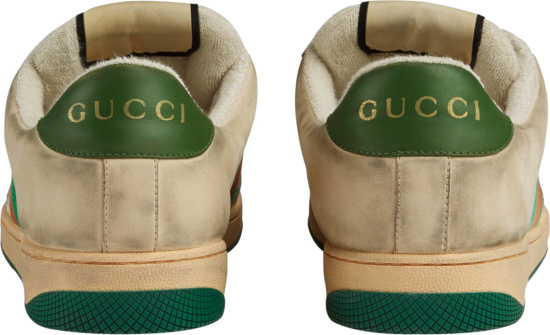 Gucci White And Green Leather Perforated Low Top Sneakrs