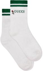 Gucci White And Green Socks