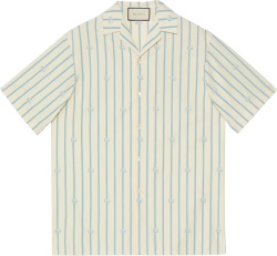 Ivory & Light Blue Pinstripe Bowling Shirt