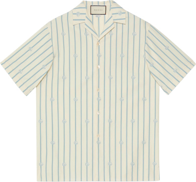 Gucci White And Light Blue Pinstripe Gg Shirt