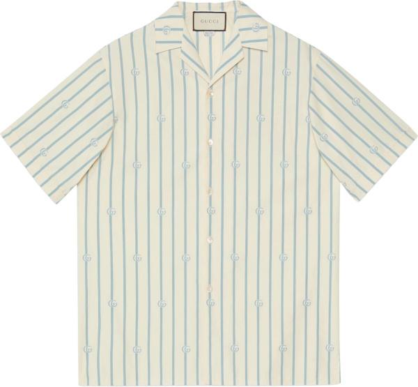 Gucci White And Light Blue Pinstripe Gg Shirt