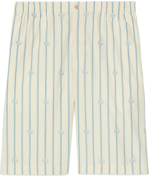 Ivory & Light Blue Pinstripe Shorts
