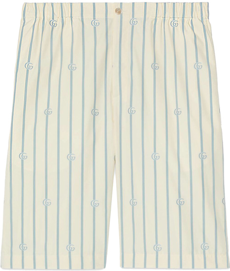 Gucci White And Light Blue Pinstripe Gg Shorts