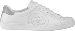 Gucci White And Perforted Gg Low Top Ace Sneakers 599147ayo709094