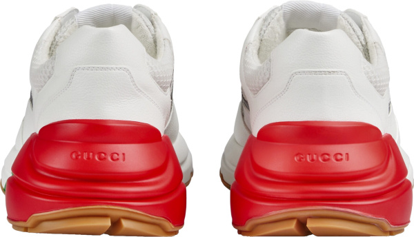 Gucci White And Red Heel Rhyton Sneakers
