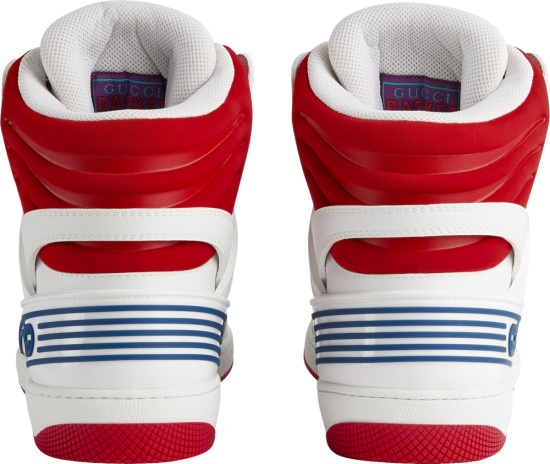 Gucci White And Red High Top Basket Sneakers