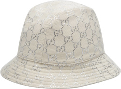 Gucci White And Silver Gg Bucket Hat