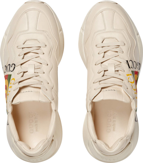 Gucci White And Square Logo Rhyton Sneakers