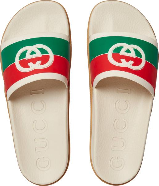 Gucci White And Web Strap Gg Logo Slides