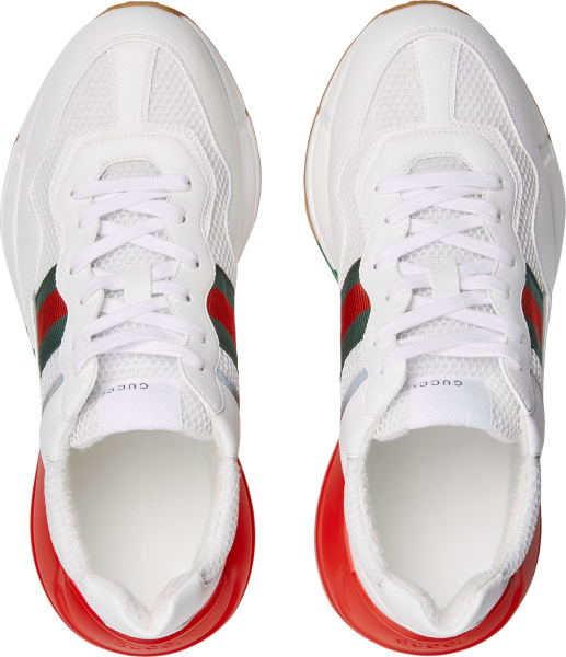 Gucci White And Web Striped Sole Rhyton Epilogue Sneakers