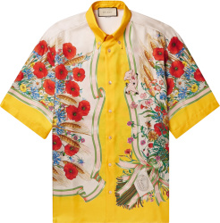 Gucci White And Yellow Floral Print Silk Shirt