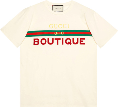 Gucci White Boutique Print T Shirt 615044 Xjcky 7136