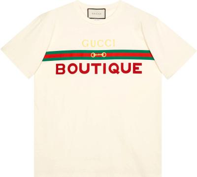 Gucci White Boutique Print T Shirt 615044 Xjcky 7136
