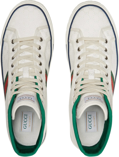 Gucci White Gg Canvas High Top Tennis 1977 Sneakers
