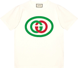 Gucci White Interlocking G Logo Print T Shirt