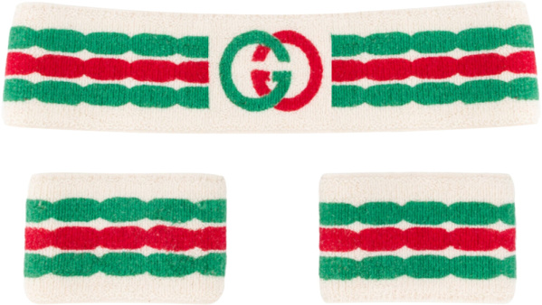 Gucci White Interlocking G Sweatbands