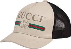 Gucci White Ivory Leather Trucker Hat