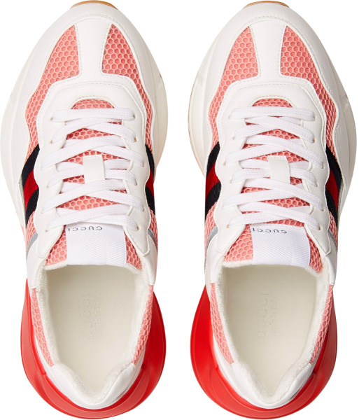 Gucci White Leather And Pink Mesh Rhyton Sneakers