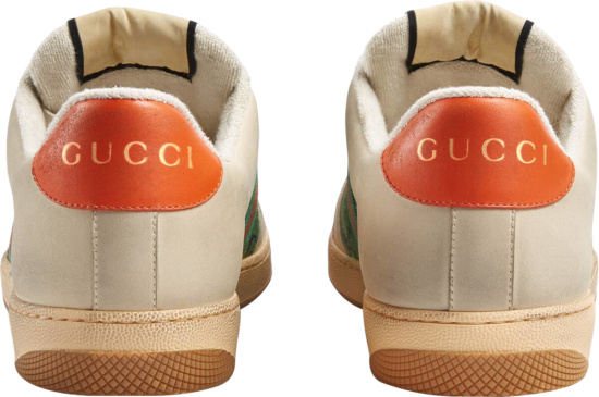 Gucci White Leather Green Canvas And Orange Screener Sneakers