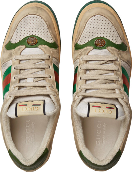 Gucci White Leather Low Top Screener Sneakers