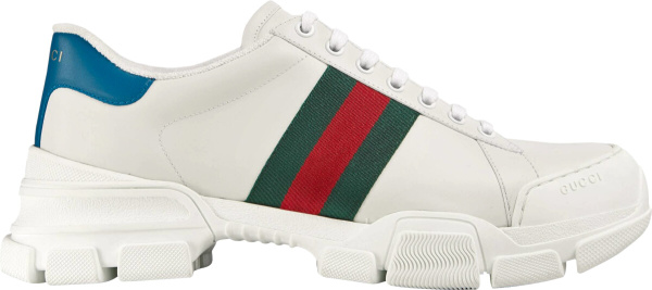 Gucci White Leather Web Stripe Blue Detail Chunky Sneakers